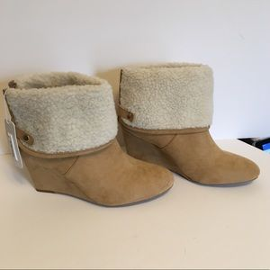 Charming Charlie Faux Fur Wedged Bootie